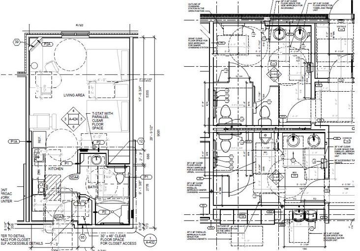 Photo shows a plan of a guestroom and restrooms